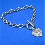 Mom's Silver Toggle Link Bracelets w/ Crystal Stone Hearts .56 each
