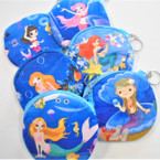 "4"" Velveteen Zipper Bag Under the Sea Mermaid Theme .54 ea"