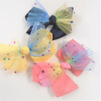 "5"" 2 Layer Gator Clip Bows w/ Rainbow Lace & Stars .54 ea"