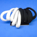10 Pack Soft & Stretchy Ponytailers Black & White Colors .54 per pack