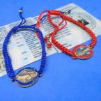 Red & Blue Handmade Macrame Bracelets w/ San Benito Charm .54 ea