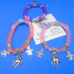 Frosted & Fimo Bead Bracelets w/ Silver Unicorn Charms .54 ea