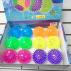 "3"" Spikey Squeakie Light Up Novelty Balls 12 per display .58 each"