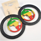 "2.75"" Rasta Color Africa Map in Black Hoop  Wood Earrings .52 ea"