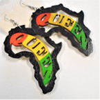 "2.75"" Rasta Color Queen in Black Africa Map  Wood Earrings .52 ea"