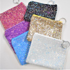 "4.5"" Zipper Bling Sparkle Coin Purses w/ Keychain .58 each"
