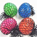 """2"""" Neon Color Mesh Squeeze Balls w/ Glitter 12 per display bx .56 ea"""