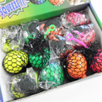 "2.5"" Neon Color Mesh Squeeze Balls w/ YoYo 12 per display bx .56 ea"