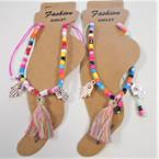 Multi Color Bead Anklets w/ Tassels & Hamsa Charms  .54 ea