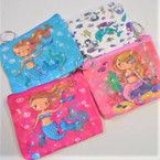 "4"" Mermaid Zipper Coin Purse w/ Keychain .54 each"