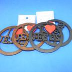 "3"" Black & Woodtone Color  Wood Earrings I Love Jesus Red Heart .52 ea"