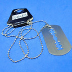 Silver Bead Chain Necklace w/ Stainless Dog Tag Pend.  .54 ea
