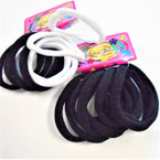 8 Pack Soft & Stretchy Black & White  Ponytailers .54 per set