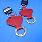 "3.5"" Red Leather Heart Keychains w/ Silver Ring 6 per pk .40 each"