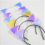Popular Metallic Theme Cat Ear Headbands Asst Colors  .54 each