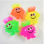 "4"" Neon Color Squeakie Spikey Hair Light Up YoYo Man 12 per bx .62 ea"