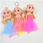 "6"" Mermaid Theme Doll Keychains w/ Lace Dress w/ Gold Trim .56 each"