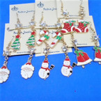 6 Style Gold Epoxy Christmas Earrings w/ Crystal Stone .62 each