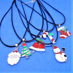 Black Cord Necklace w/ 6 Style Silver Frame Christmas Pendants .54 ea