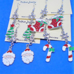 6 Style Silver Epoxy Christmas Earrings w/ Crystal Stone .62 each