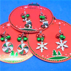 Jingle Bell Christmas Earrings Boot,Snowflake,Candy Swirl   .62 ea