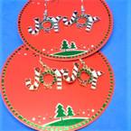 Jingle Bell Christmas Earrings Gold & Silver JOY w/ Wreath    .62 ea