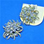 """Elegant 2"""" Fashion Broach Gold/Silver w/ Loads of Stones .60 each"""