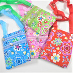 "4.75""  X 5.75"" 2 Zipper Flower Print Side Bag w/ Strap .58 each"