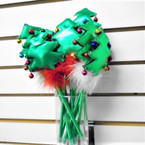 "9"" Christmas Tree Pens w/ Bells & Fur 12 per can .60 each"