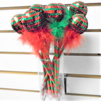 "9"" Christmas  Pens w/ Sequin Ball & Fur 12 per can .60 each"