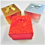 "3"" Square Holiday Gift Boxes 3 colors per dz .58 each"