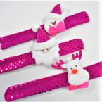 Fusia Color Sequin Christmas Theme Slap Bracelets .56 each