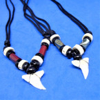 Leather Cord Necklace w/ Beads & Real Shark Tooth Pendant .66 each