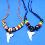 Leather Cord Necklace w/ Rasta Beads & Real Shark Tooth Pendant .66 each