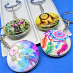 DBL Sided Glass Keychains w/ Dream Catcher Theme .54 each