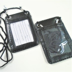 "4.5"" Black Leather DBL Sided ID Holder Necklace .56 each"