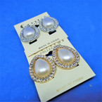 "Elegant 1"" Gold & Silver Pearl w/ Crystal Stone CLIP ON Earrings .54 ea"
