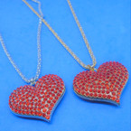"16"" Fancy Gold & Silver Chain Necklace w/ Red Crystal Stone Heart  .56 each"