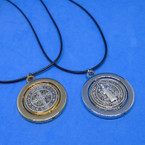 Black Cord Necklace w/ DBL Sided Spinner San Benito Pendant .54 ea