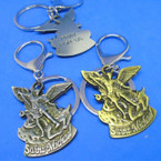 "2"" Cast Gold & Silver St. Michael Angel Keychains .56 each"