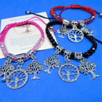 Mixed Color Macrame Bracelet w/ Silver Crystal Stone Tree of Life Charms .56 ea