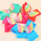 "5"" Gator Clip Bows w/ Rainbow Angel Wings & Crystal Stones .54 ea"