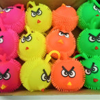 "2.5"" Neon Color Flashing Silly Bird Puffer Balls 12 per display .54 each"