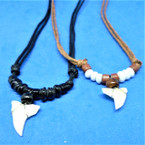 Leather Cord Necklace w/ Blk/Brown Beads & Real Shark Tooth Pendant .66 each