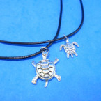 Black Cord Necklaces w/ Cast Silver Turtle Pendant 24 per pk .30 each