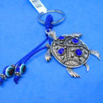 "2"" Cast Silver Turtle Keychains w/ Blue Stones .54 each"