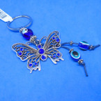 """2"""" Cast Silver Butterfly Keychains w/ Blue Stones .56 each"""