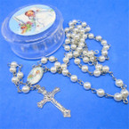 "36"" Pearl Baby Baptism Rosary in Case 12 per pk .58 each"