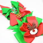 """5"""" 2 Layer Christmas Gator Clip Bows w/ Sparkle Boot,Tree,Reindeer .56 each"""