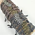Teen Leather Bracelets w/ Gold & Silver Tree of Life   .54 ea